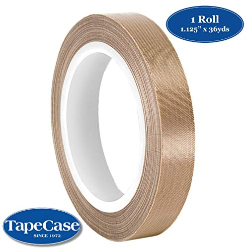 "TapeCase 1.125-36-134-3 Tan Abrasion Resistant Fiberglass Tape Coated with PTFE 134-3, 36 yd Length, 1.125"" Width from TapeCase"