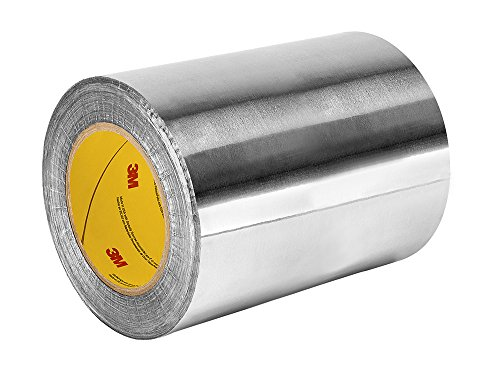 "TapeCase 433 9"" x 60yd Silver High Temperature Aluminium/Silicone Adhesive Foil Tape, 9"" x 60 yd Roll, 0.0036"" Thickness, 60"" Length, 9"" Width from 3M"