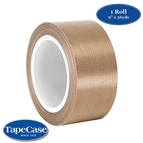 "TapeCase 9-36-134-3 Tan Abrasion Resistant Fiberglass Tape Coated with PTFE 134-3, 36 yd Length, 9"" Width from TapeCase"