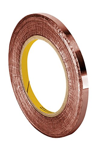 "TapeCase CFL-5A 0.125"" X 36YD (PK5) Copper Foil Tape with Non-Conductive Acrylic Adhesive 0.0035 mil Thickness, 36 yd. Length, 0.125"" Width (Pack of 5) from TapeCase"