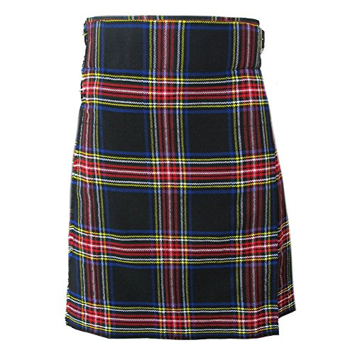 Mens Kilt Black Stewart 5 Yard 10 oz 32 from Tartanista
