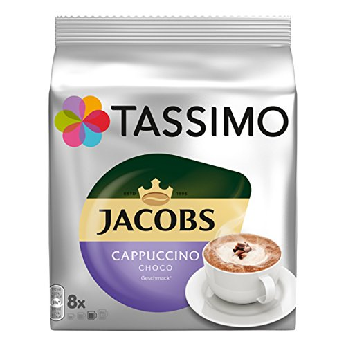 Jacobs Cappuccino Choco Chocolate - 1 Pack of 8 Discs/Servings - Coffee/Cocoa/Milk in 1 disc from Tassimo