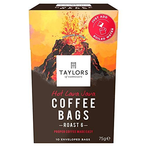 Taylors of Harrogate Hot Lava Java Coffee Bags, 10 enveloped bags (Pack of 3, total 30 Coffeebags) from Taylors of Harrogate