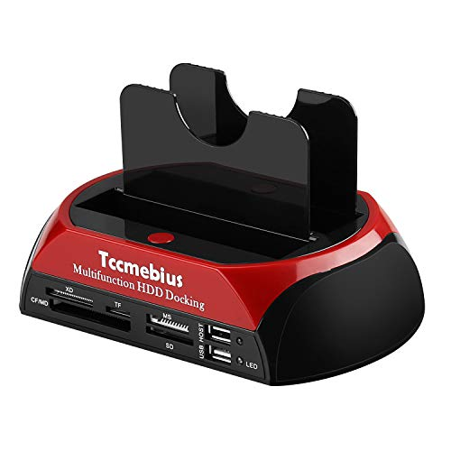 "Tccmebius TCC-S862-UK USB 2.0 to 2.5 3.5 Inch SATA IDE Dual Slots External Hard Drive Docking Station with All in 1 Card Reader and USB 2.0 Hub For 2.5"" 3.5"" IDE SATA I/II/III HDD SSD from Tccmebius"