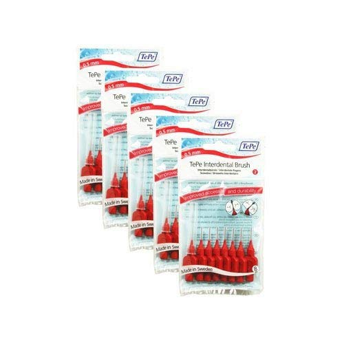 TePe Red 0.5 mm Size 2 Original Interdental Brush - Pack of 5, Total 40 from TEPE