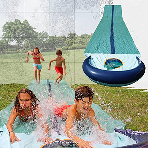 Team Magnus Slip and Slide XXL with Dual Racer Lanes, Water-Spraying Channel and Inflatable Splash Pool (31ft long Water Slide) from Team Magnus