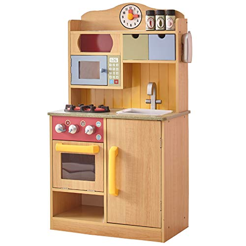 Teamson Kids TD-11708A Burlywood Wooden Pretend Play Toy Kitchen for Kids with Role Play Phone & Accessories, Natural from Teamson Kids