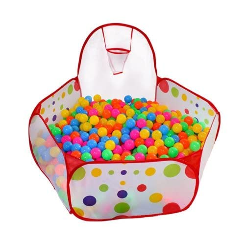 Tech Traders Kids Ball Pit Ball Tent Toddler Ball Pit with Basketball Hoop and Zippered Storage Bag for Toddlers 4 ft/120cm(Balls not Included) from Tech Traders