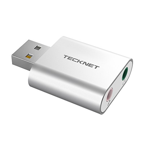 TeckNet Aluminum USB Sound Card External Stereo Sound Adapter For Windows and Mac, Plug and Play, No drivers Needed from TeckNet