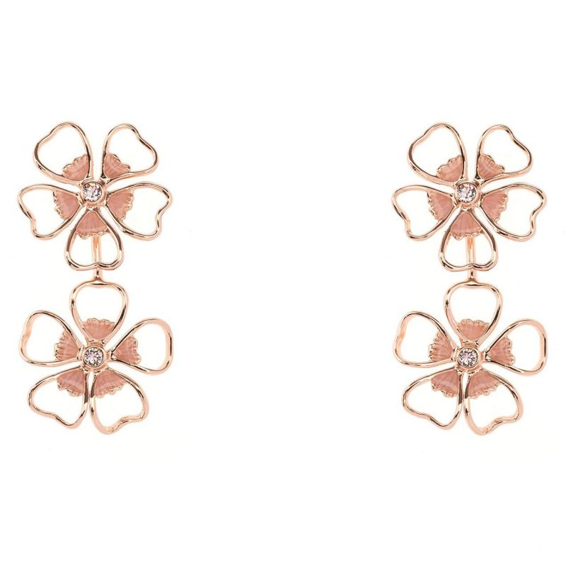 Ladies Ted Baker Gold Plated Lorel Enamel Flower Double Earring from Ted Baker Jewellery
