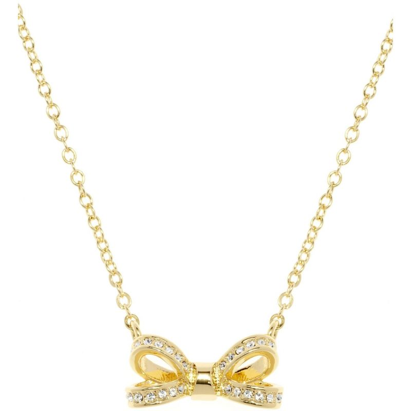 Ladies Ted Baker Gold Plated Olessi Mini Opulent Pave Bow Necklace from Ted Baker Jewellery
