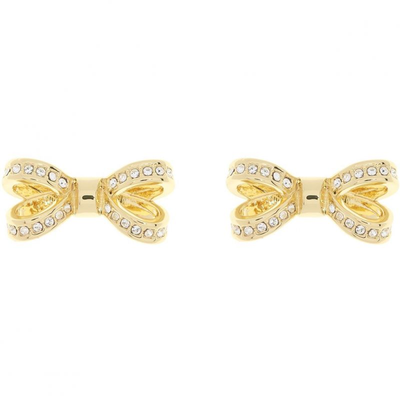 Ladies Ted Baker Gold Plated Olitta Mini Opulent Pave Bow Earring from Ted Baker Jewellery