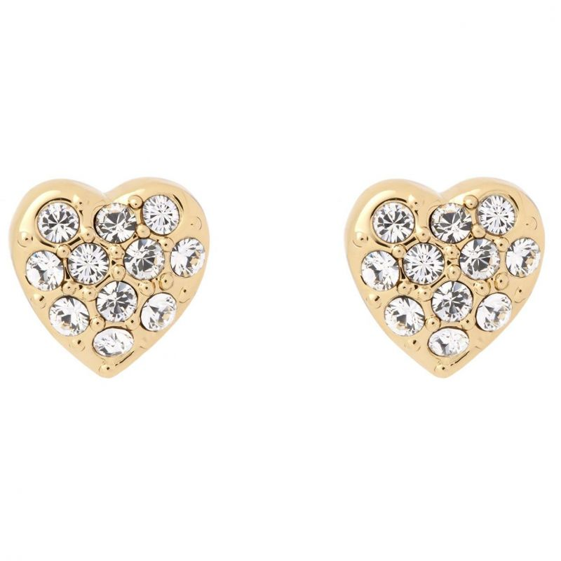 Ladies Ted Baker Gold Plated Pave Crystal Heart Stud Earrings from Ted Baker Jewellery