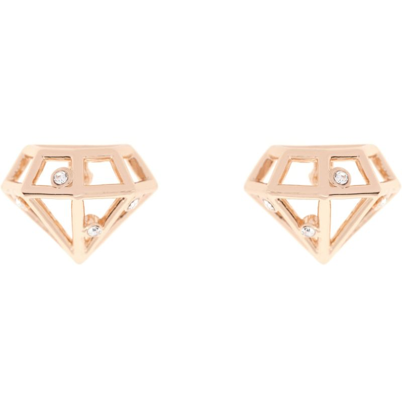 Ladies Ted Baker Rose Gold Plated Cerese Crystal Sparkle Small Gem Frame Stud Earring from Ted Baker Jewellery