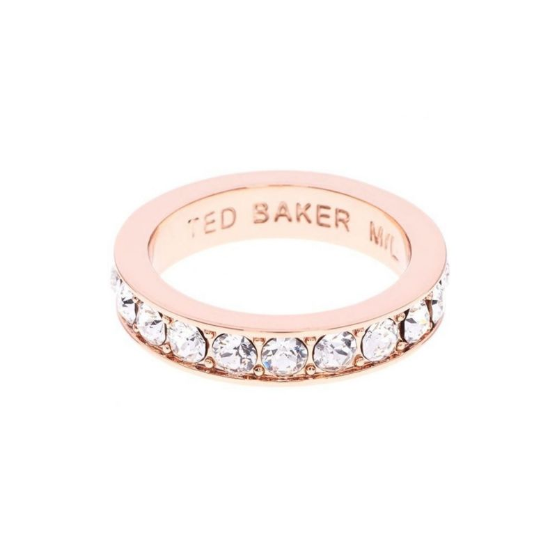 Ladies Ted Baker Rose Gold Plated Claudie Narrow Crystal Band Ring Ml from Ted Baker Jewellery
