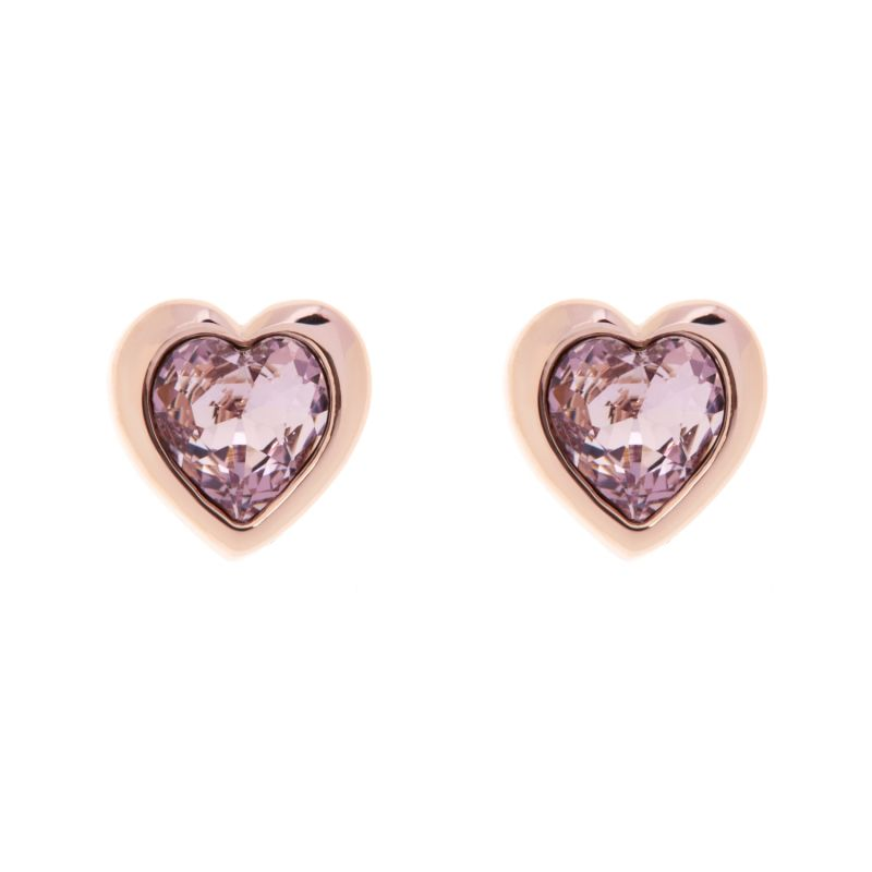 Ladies Ted Baker Rose Gold Plated Crystal Heart Stud Earrings from Ted Baker Jewellery