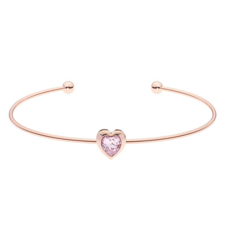 Ladies Ted Baker Rose Gold Plated Crystal Heart Ultrafine Cuff Bangle from Ted Baker Jewellery