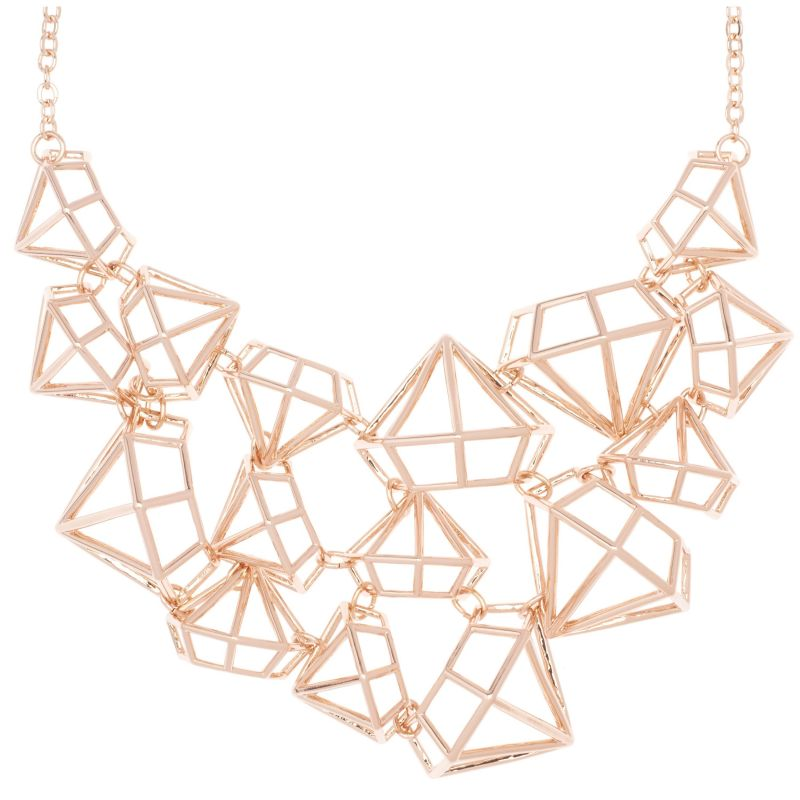 Ladies Ted Baker Rose Gold Plated Joni Gem Frame Cluster Necklace from Ted Baker Jewellery