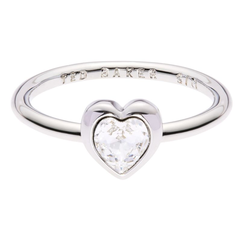 Ladies Ted Baker Silver Plated Crystal Heart Ring Size SM from Ted Baker Jewellery