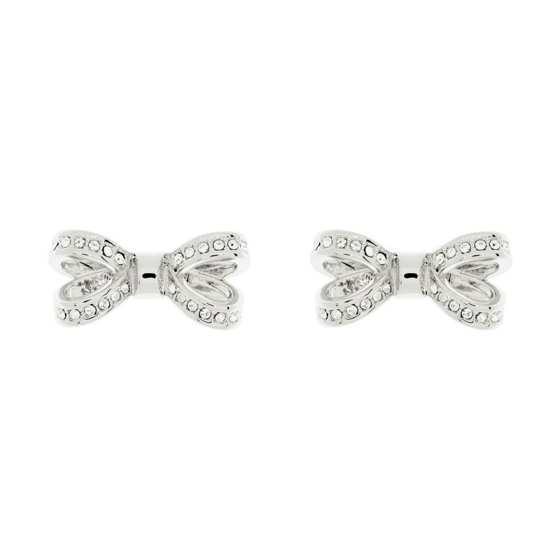 Ladies Ted Baker Silver Plated Olitta Mini Opulent Pave Bow Earring from Ted Baker Jewellery