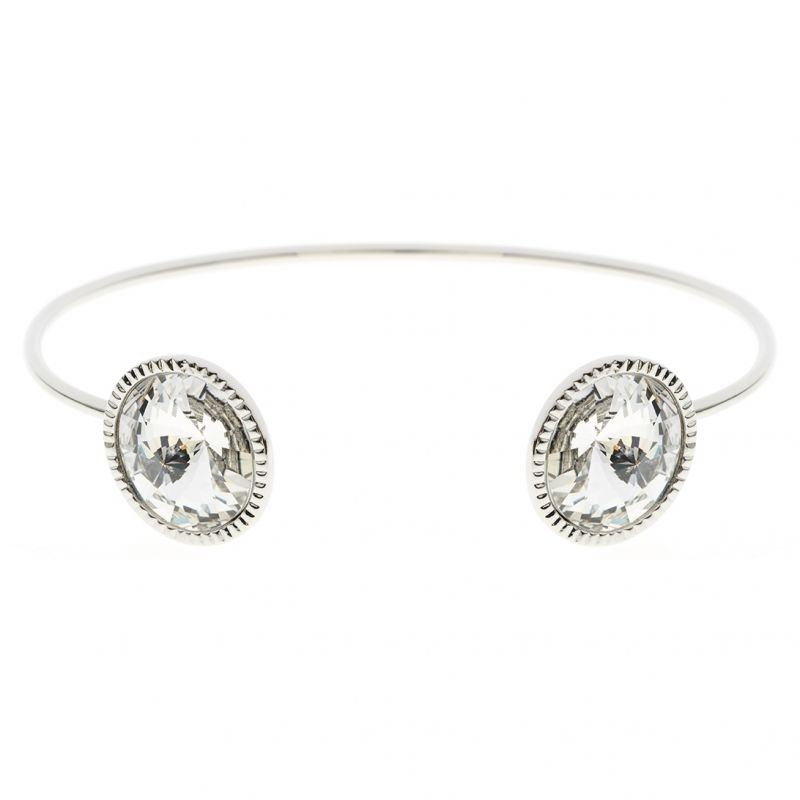 Ladies Ted Baker Sterling Silver Revenna Double Rivoli Crystal Ultra Fine Cuff from Ted Baker Jewellery