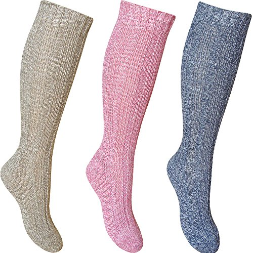 Ladies Chunky Ribbed Knit Deluxe Wool Blend Long Length Hiking Socks (3 Pair Multi Pack) from TeddyT's