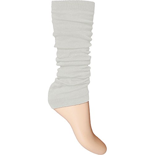Ladies & Girls Bright Fluorescent Neon Stretch Fit Comfort Ankle Leg Warmers (White) from TeddyT's