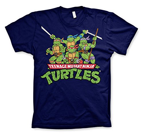 9b885da04 Officially Licensed Merchandise TMNT - Distressed Group T-Shirt (Navy), X-