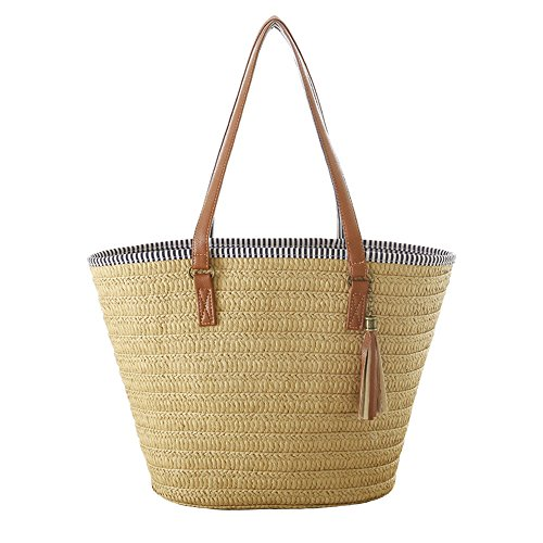 Women Straw Beach Bag Handbags Shoulder Bag Tote,Cotton Lining,PU Leather Handle from Teeya