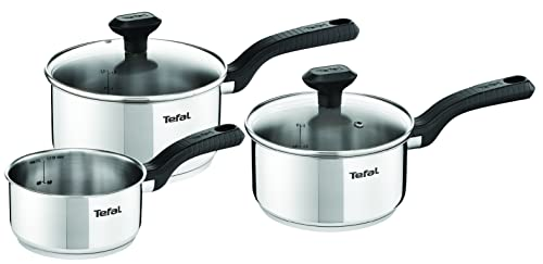 Tefal C973S344 Comfort Max Stainless Steel Saucepan Set, 3 Pieces - Silver from Tefal