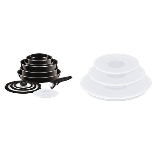 Tefal Ingenio Non-Stick Enamel Cookware Set, 13 Pieces + Ingenio Plastic Lids - Set of 3 from Tefal