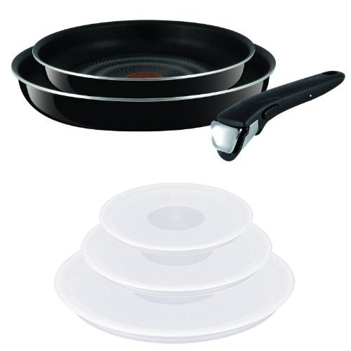 Tefal Ingenio Non-Stick Enamel Try-Me Cookware Set, 3 Pieces + Ingenio Plastic Lids - Set of 3 from Tefal