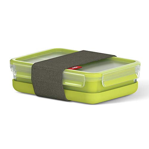 Tefal Master Seal to Go Lunchbox Rectangle Food Storage, Clear/Green, 1.2 Litre from Tefal