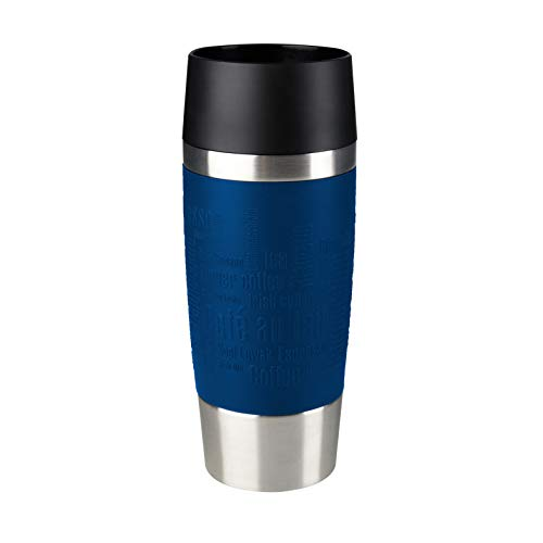 Tefal K3082114 Travel Mug, Reusable Drink Bottle To Go, Quick Press Closure, Silicone Bottle Sleeve, Blue, 360 ml from Tefal