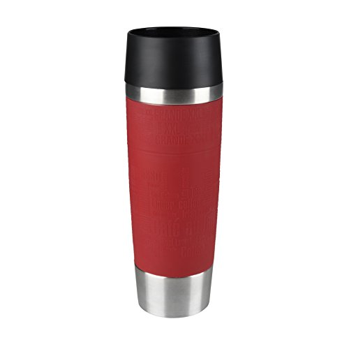 Tefal K3084214 Travel Mug Grande, Reusable Drink Bottle To Go, Quick Press Closure, Red Silicone Bottle Sleeve, 500 ml from Tefal