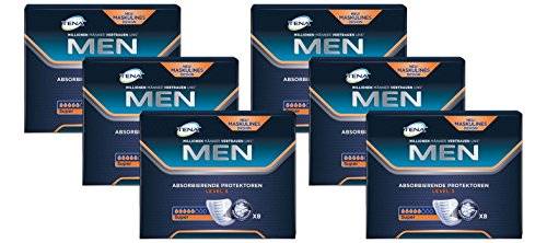 TENA for Men Level 3 - Insoles for Men with Medium - Bladder Control Formula - 6 Packs of 8) from TENA