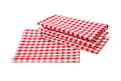 Country House Table Cloths in Checked - Choice of Colours and Sizes - 100% Cotton (100 x 100 cm, Red/White Checked) from TextilDepot24