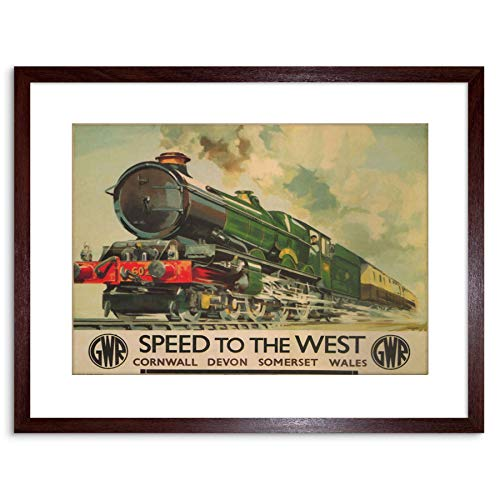 9x7 '' GWR RAILWAY TRAIN STEAM ENGINE CORNWALL WALES FRAMED ART PRINT F97X1242 from The Art Stop