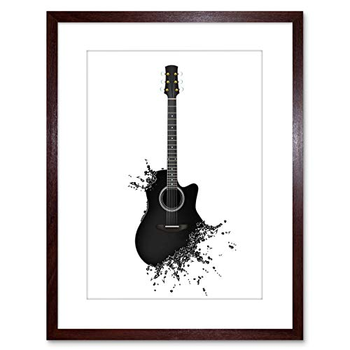 MUSIC ILLUSTRATION GUITAR WATERSPLASH BUBBLE EFFECT FRAMED PRINT F97X4172 from The Art Stop