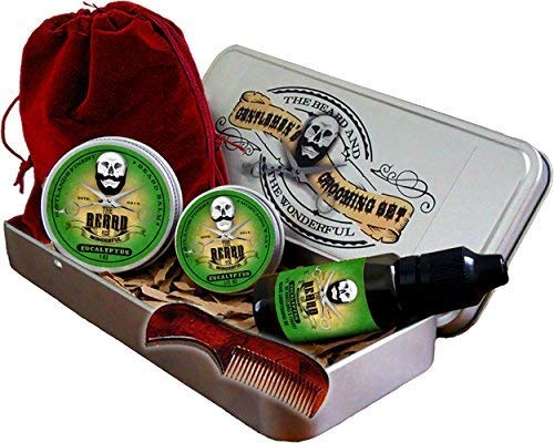 Eucalyptus Beard Grooming Kit for Men - 6 Piece Set. Traditional Beard Oil, Moustache Wax, Beard Balm, Mini Comb, Drawstring Carry Bag Presented in an Aluminium Gift Tin. Perfect Gift. from The Beard and The Wonderful