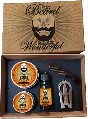 5 Piece Beard & Mustache Grooming Kit. Hand Crafted Beard Balm, Beard Oil, Moustache Wax, Mini Comb & Scissors (Sweet Orange) from The Beard and The Wonderful