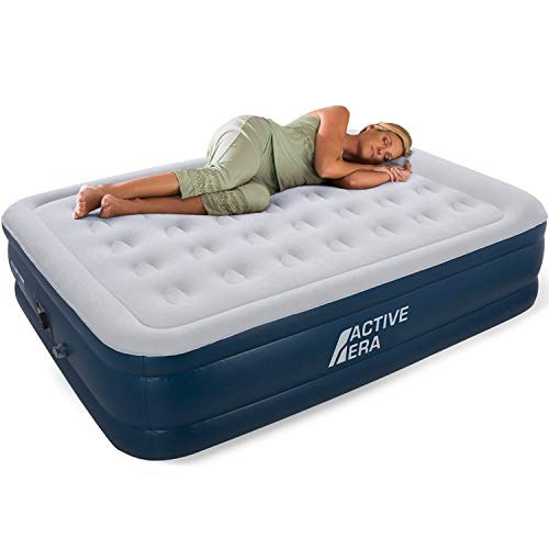 Premium Queen Size Double Air Bed with a Built-in Electric Pump and Pillow from Active Era