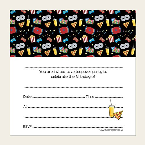 Children's Birthday Invitations - Boys Sleepover Party - Pack of 10 from The Card Gallery
