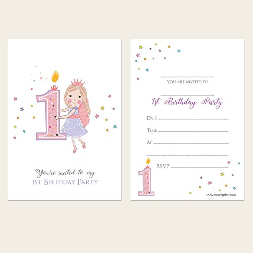 Kids Invitations - Girls 1st Birthday Fairy - Pack of 10 from The Card Gallery