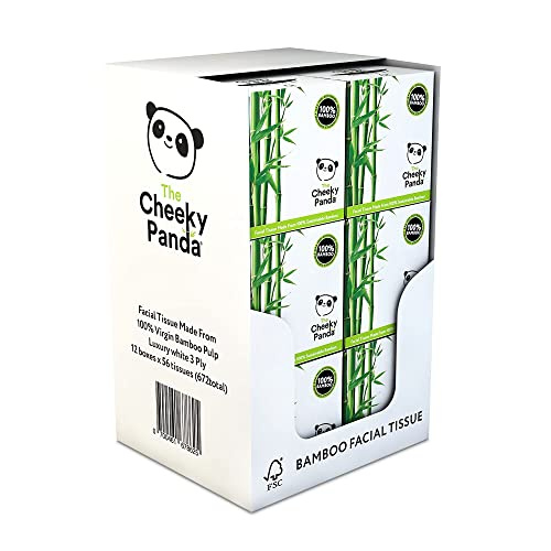The Cheeky Panda 100 Percent Bamboo Facial Tissue, Pack of 12, Total 672 Tissues from The Cheeky Panda