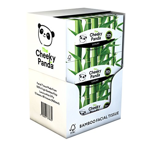 The Cheeky Panda 100 Percent Bamboo Facial Tissue Flat Box, Pack of 12, Total 960 Tissues from The Cheeky Panda