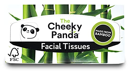 The Cheeky Panda 100 Percent Bamboo Facial Tissue Flat Box, Pack of 80 Tissues from The Cheeky Panda