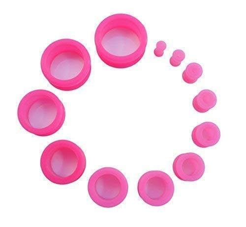 Vault 101 Limited Flexi Silicone Ear Flesh Tunnel Stretcher Plug 6mm, 8mm, 10mm, 12mm, 14mm, 16mm, 18mm, 20mm (Pink, 16 MM) from Vault 101 Limited