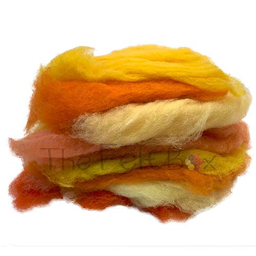 Carded Wool For Felting, Needle Felting Wool Shade Pack, 100 grams 5.3 Oz (Orange and Yellow) from The Felt Box