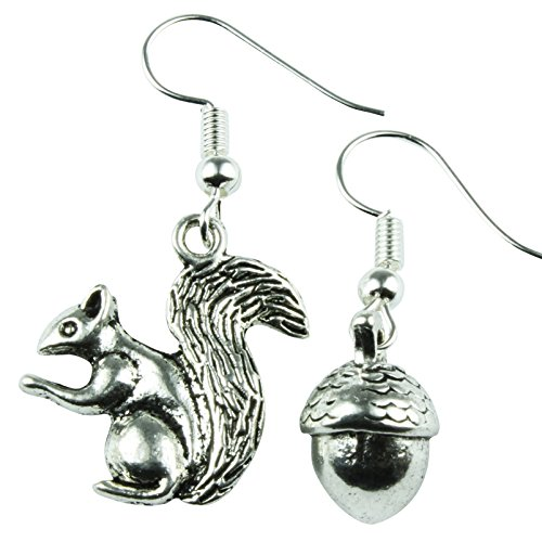 The Funky Barcode SQUIRREL & NUT DANGLE EARRINGS Gift Box Available from The Funky Barcode